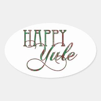 Happy Yule Plaid Oval Sticker