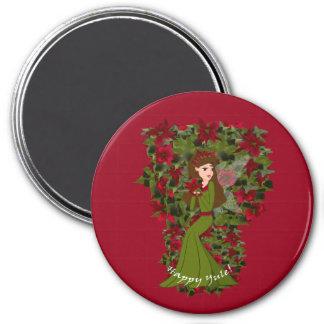 Happy Yule Poinsettia Faery Magnet
