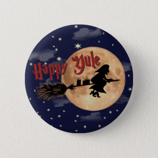Happy Yule Witch Xmas Button