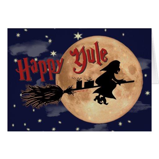 Happy Yule Witch Xmas Card
