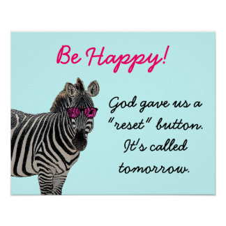 Happy Zebra Wearing Rose Colored Glasses Poster