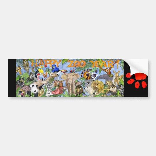 Happy Zoo Year Zoo Animals Bumper Sticker