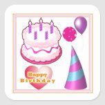 HappyBIRTHDAY Cake Balloon Decorations Stickers