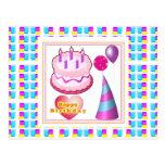 HappyBIRTHDAY Cake Balloon n Text Post Card