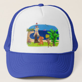 Happy's Lighthouse by The Happy Juul Company Trucker Hat