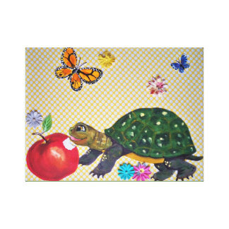 HappyTurtle Nursery Kids Wall Art, Vintage Design Canvas Print