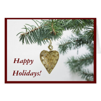 Hapy Holidays Golden Heart Greeting Card