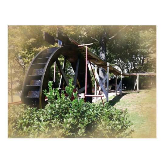 Har-Ber Village water wheel Postcard