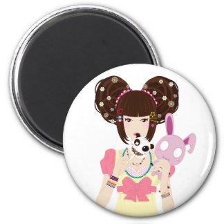 Harajuku Girl Yuriko 6 Cm Round Magnet