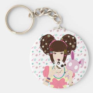 Harajuku Girl Yuriko - background Basic Round Button Key Ring