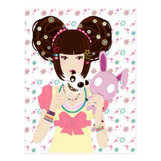 Harajuku Girl Yuriko - background Postcard