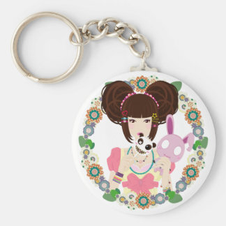 Harajuku Girl Yuriko - bordered Basic Round Button Key Ring