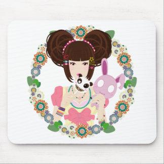 Harajuku Girl Yuriko - bordered Mouse Pad