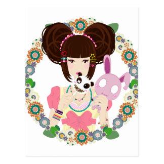 Harajuku Girl Yuriko - bordered Postcard