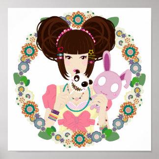 Harajuku Girl Yuriko - bordered Print
