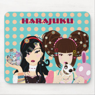 Harajuku Girls in Polka Dots Mouse Pad