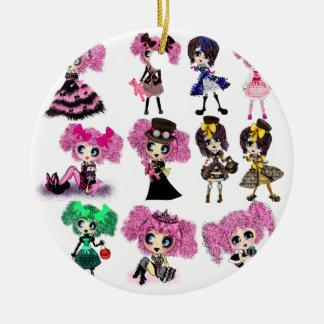 Harajuku Girls - Lolita fashionistas Round Ceramic Decoration