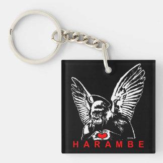 Harambe Double-Sided Square Acrylic Key Ring