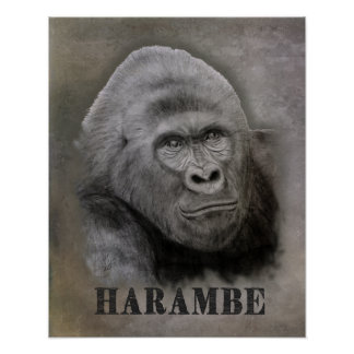 Harambe (Graphite Drawing) Poster