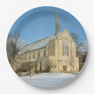 Harbison Chapel in Winter at Grove City College 9 Inch Paper Plate