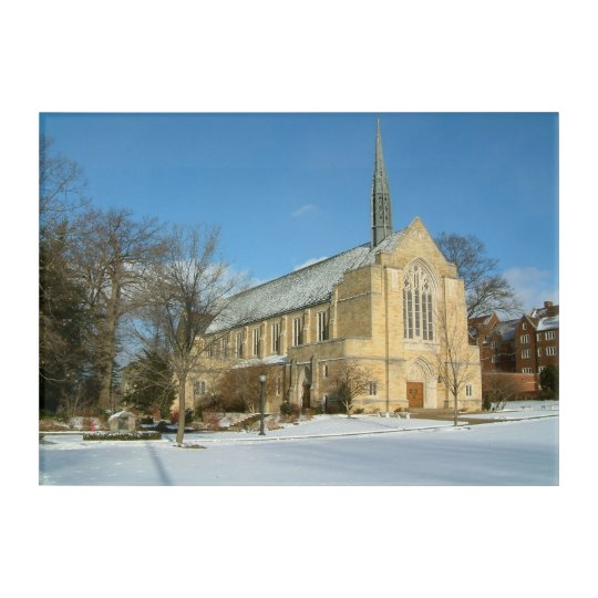 Harbison Chapel in Winter at Grove City College Acrylic Wall Art