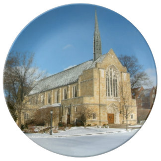Harbison Chapel in Winter at Grove City College Plate
