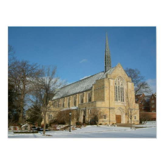 Harbison Chapel in Winter at Grove City College Poster