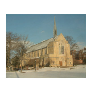 Harbison Chapel in Winter at Grove City College Wood Wall Decor