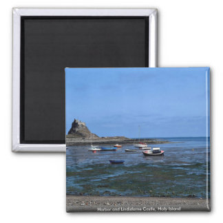 Harbor and Lindisfarne Castle, Holy Island Square Magnet