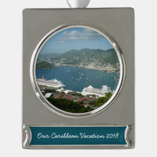 Harbor at St. Thomas US Virgin Islands Silver Plated Banner Ornament
