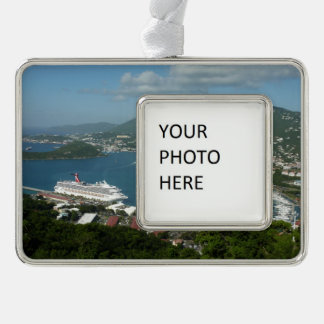 Harbor at St. Thomas US Virgin Islands Silver Plated Framed Ornament