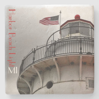 Harbor Beach Lighthouse bw MI Stone Coaster