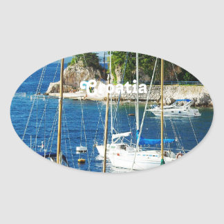 Harbor in Croatia Oval Sticker