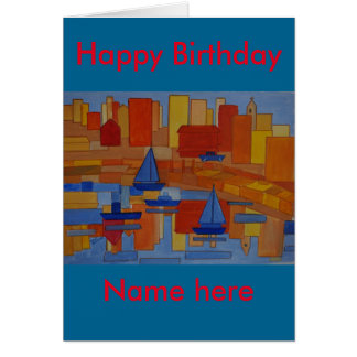 Harbor Painting bright colourful cubism Greeting Card