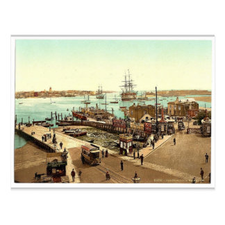 Harbor, Portsmouth, England classic Photochrom Postcard