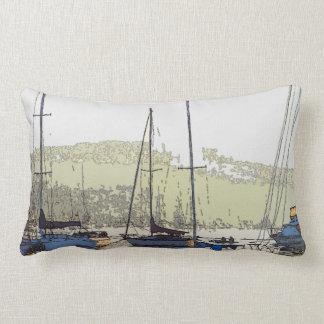 Harbor Sailboats Ocean Misty Morning Throw Pillow
