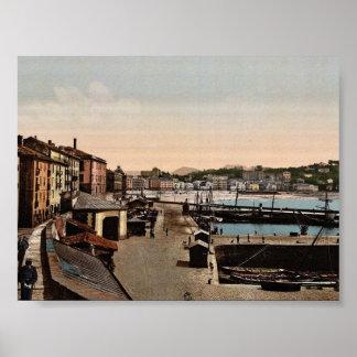 Harbor, San Sebastian, Spain vintage Photochrom Poster