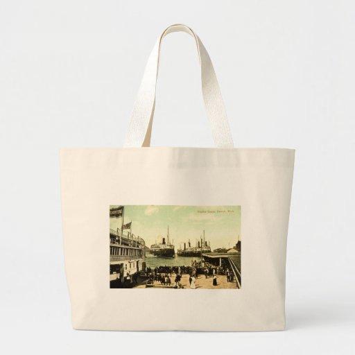 Harbor Scene, Detroit, Michigan Tote Bags