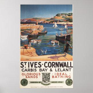 Harbor Scene with Girl and Gulls Railway Print