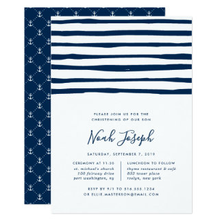 Harbor Stripe Christening or Baptism Invitation