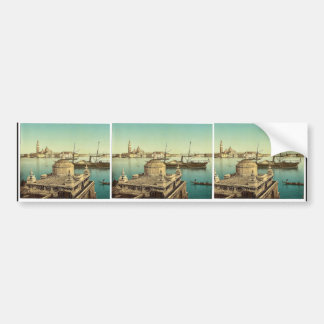 Harbor Venice Italy vintage Photochrom Bumper Stickers
