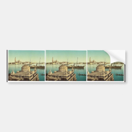 Harbor, Venice, Italy vintage Photochrom Bumper Stickers