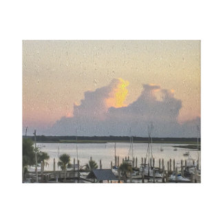 Harbor View Boats Bay and the Sunset Canvas Print