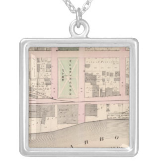 Harbor Washington Park Atlas Map Silver Plated Necklace