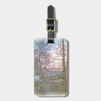 Harbor with boats luggage tag