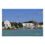 Harbour and Sailboats in Antigua Canvas Print