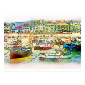 HARBOUR AS A PAINTING POSTCARD