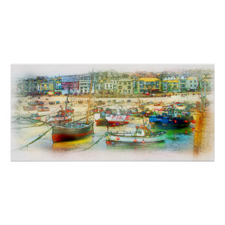 HARBOUR AS A PAINTING POSTER
