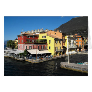 Harbour at Malcesine at Lake Garda in Italy Card