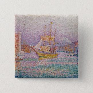 Harbour at Marseilles, c.1906 15 Cm Square Badge
